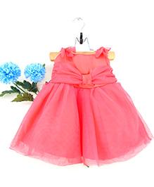 Tiny Toddler Bow & Tie Design Dress - Carrot Pink