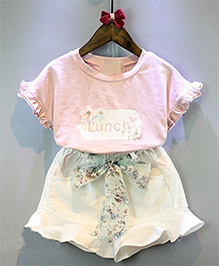 Pre Order : Lil Mantra Pretty Top & Skirt - Light Pink & White