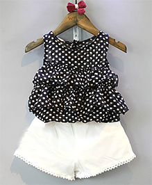 Pre Order : Lil Mantra Polka Dot & Shorts - Black & White