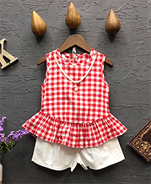 Pre Order : Lil Mantra Gingham Checks Top & Shorts - Red & White