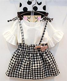 Pre Order : Lil Mantra Top & Gingham Checks Skirt - Black & White