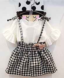 Pre Order : Lil Mantra Top & Gingham Checks Skirt - Black & White