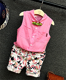 Pre Order : Lil Mantra Shirt With Floral Pant - Pink