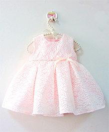 Pre Order : Lil Mantra Party Dress With Bow - Light Pink