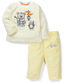 ToffyHouse Full Sleeves T-Shirt & Pant Teddy Embroidery - Light Yellow