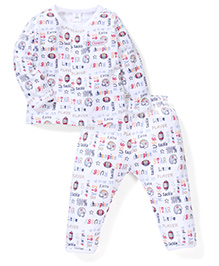 ToffyHouse Full Sleeves Night Suit Little Player Print - White