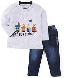Babyhug Full Sleeves T-Shirt & Jeans Set - Grey & Denim Blue