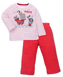 Babyhug Full Sleeves T-Shirt & Pant - Red