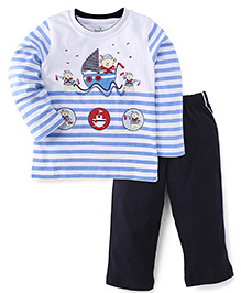 Babyhug Full Sleeves T-Shirt & Track Pant Set - Blue