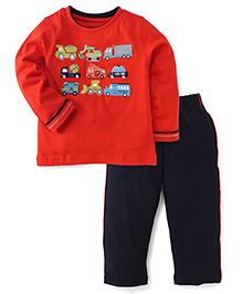 Babyhug Full Sleeves T-Shirt & Track Pant Set - Red & Navy Blue