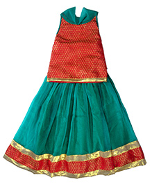 Utsa Boutique Brocade & Chiffon Lehenga Choli - Crimson Red & Sea Green