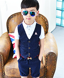 Lil Mantra Printed Mock Waistcoat & Shorts Set - Navy Blue & White
