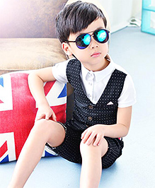 Lil Mantra Printed Mock Waistcoat & Shorts Set - Black & White