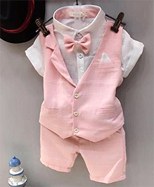 Lil Mantra Printed Checks Waistcoat Shorts & Shirt With Bow Attached Set - Pink & White