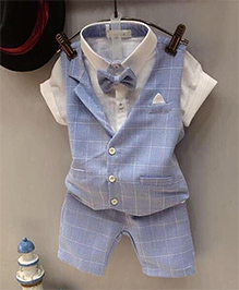Lil Mantra Printed Checks Waistcoat Shorts & Shirt With Bow Attached Set - Blue & White