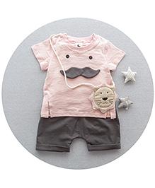 Lil Mantra Moustache Print Tee & Shorts Set - Light Pink & Black