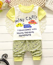 Lil Mantra Mini Car Print Tee & Pant Set - Yellow
