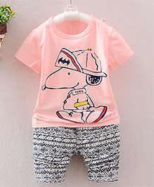 Lil Mantra Cartoon Print Tee & Pant Set - Pink Black & White