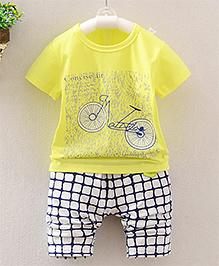 Lil Mantra Bicycle Print Tee & Pant Set - Yellow Black & White