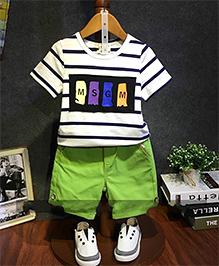 Lil Mantra Printed Stripes Tee & Shorts Set - Green White & Multicolour