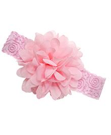 Akinos Kids Designer Net Headband With Flower - Light Pink