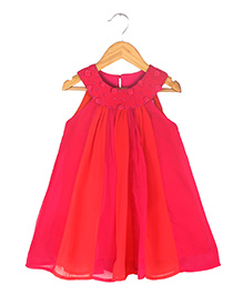 Soul Fairy Two Coloured Godget Dress With Corsage - Fuschia Red