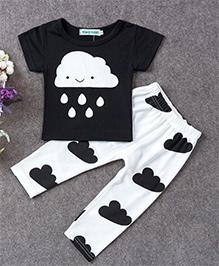 Pre Order : Superfie Cloud Print Two Piece Set - Black & White