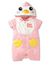 Pre Order : Superfie Penguin Romper With Hood - Pink