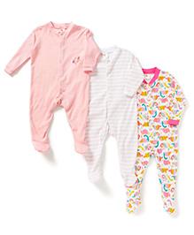 Kidi Wav Footed Romper Set of 3 - Baby Pink & Multicolour