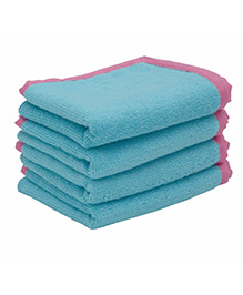 Mumma's Touch Organic Baby Wash Towel Pack of 4 - Aqua with Pink Piping
