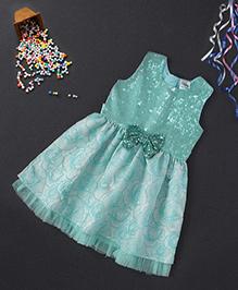 Babyhug Sleeveless Party Frock Flower Applique - Sea Green