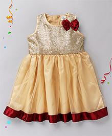Babyhug Sleeveless Party Frock Bow Applique - Golden