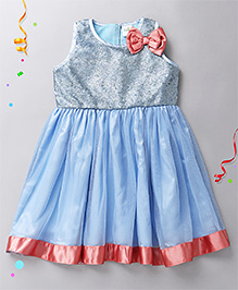 Babyhug Sleeveless Party Frock Bow Applique - Blue