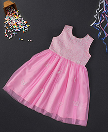 Babyhug Sleeveless Party Wear Frock Butterfly Appliques - Pink