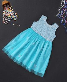 Babyhug Sleeveless Party Wear Frock Butterfly Appliques - Blue