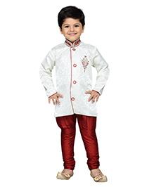 AJ Dezines Full Sleeves Kurta And Jodhpuri Breeches Sequin Detailing - White Maroon