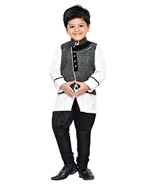 AJ Dezines Full Sleeves Kurta And Jodhpuri Breeches With Waistcoat - Grey White Black