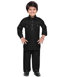 AJ Dezines Full Sleeves Pathani Suit - Black
