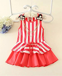Peach Giirl Stripes Print Dress with Necklace - Red & White