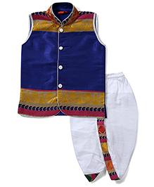 Ethnik's Neu-Ron Sleeveless Kurta And Dhoti Set - Royal Blue Golden White