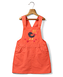 Beebay Girls  @DQ@Bird Applique@DQ@ Coral Dungaree Dress  6Y 100% Cotton Woven