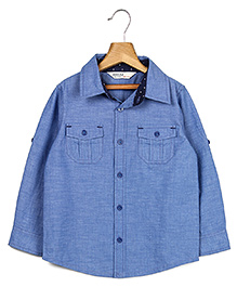 Beebay Full Sleeves Chambray Shirt - Blue