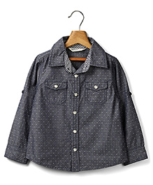 Beebay Full Sleeves Dotted Chambray Shirt - Grey