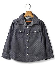 Beebay Full Sleeves Dotted Chambray Shirt - Grey