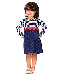 Beebay Stripe & Dotted Corduroy Dress - Navy