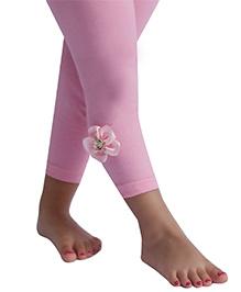 D'chica Cute Flower Leggings For Girls - Pink
