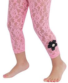 D'chica Cute Flower Leggings For Girls - Pink & Black