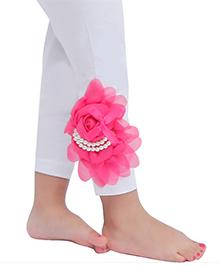 D'chica Cute Flower Leggings For Girls - White & Pink