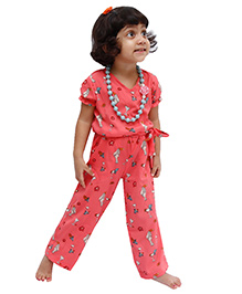 D'chica Printed Jumpsuit With Side Pockets For Girls - Peach