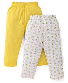 Babyhug Full Length Set of 2 Pajamas - Yellow & White